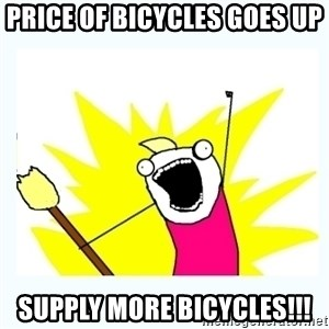 All the things - Price of bicycles goes up SUPPLY MORE BICYCLES!!!