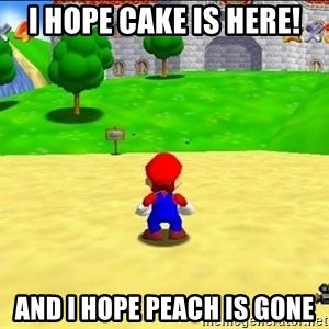 Mario looking at castle - I Hope Cake Is Here! And I Hope Peach Is Gone