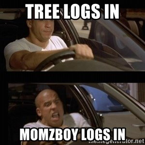 Vin Diesel Car - Tree logs in Momzboy logs in