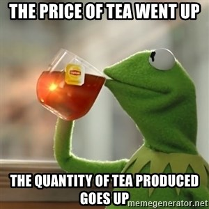 Kermit The Frog Drinking Tea - The price of tea went up The quantity of tea produced goes up