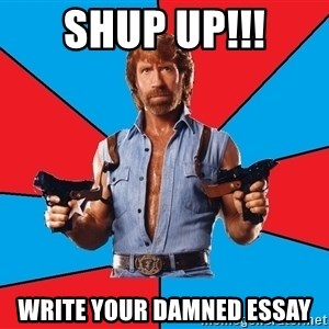 Chuck Norris  - Shup up!!! write your damned essay