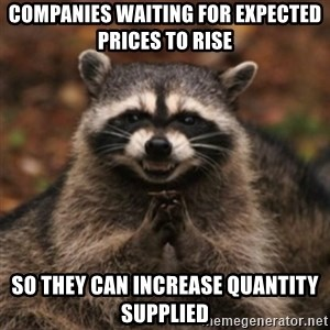 evil raccoon - Companies waiting for expected prices to rise So they can increase quantity supplied