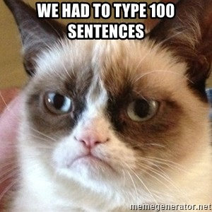 Angry Cat Meme - we had to type 100 sentences