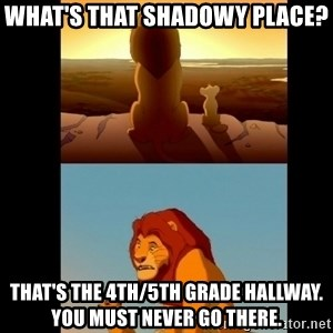 Lion King Shadowy Place - What's that shadowy place? That's the 4th/5th grade hallway. You must never go there.