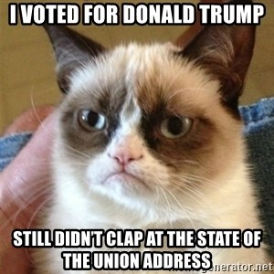 Grumpy Cat  - I voted for Donald trump Still didn't clap at the state of the union address