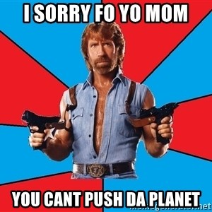 Chuck Norris  - I sorry fo yo mom you cant push da planet