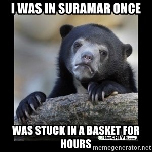 sad bear - i WAS IN SURAMAR ONCE WAS STUCK IN A BASKET FOR HOURS
