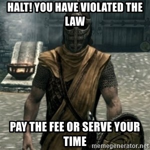 skyrim whiterun guard - Halt! you have violated the law pay the fee or serve your time
