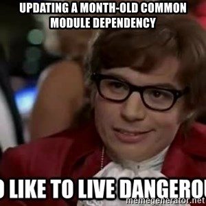 I too like to live dangerously - Updating a month-old common module dependency