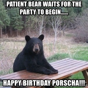 Patient Bear - PATIENT BEAR WAITS FOR THE PARTY TO BEGIN...... HAPPY BIRTHDAY PORSCHA!!!