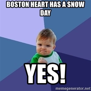 Success Kid - Boston Heart has a snow day Yes!