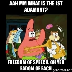 Patrick Star Instrument - aah mm what is the 1st adamant? freedom of speech. oh yeh eadom of each
