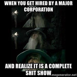 Confused Gandalf - When you get hired by a major corporation  And realize it is a complete shit show