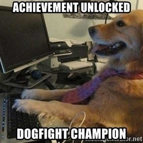 I have no idea what I'm doing - Dog with Tie - Achievement unlocked Dogfight champion