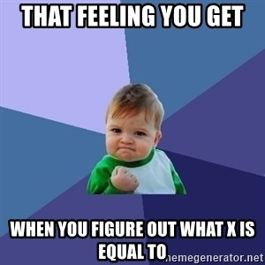 Success Kid - That feeling you get when you figure out what x is equal to