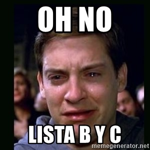 crying peter parker - oh no  lista b y c