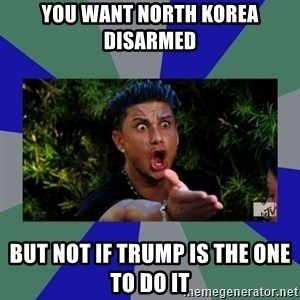 jersey shore - you want north korea disarmed but not if Trump is the one to do it
