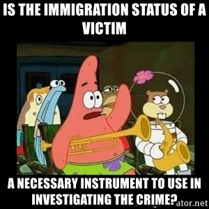 Patrick Star Instrument - is the immigration status of a victim  a necessary instrument to use in investigating the crime?