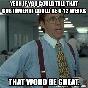 Yeah that'd be great... - yeah if you could tell that customer it could be 6-12 weeks   that woud be great.