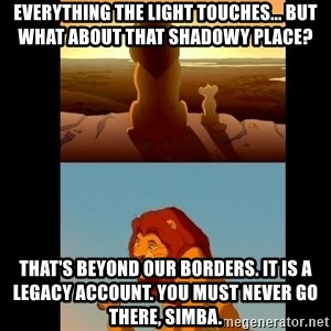 Lion King Shadowy Place - Everything the light touches... but what about that shadowy place? That's beyond our borders. It is a legacy account. You must never go there, Simba.