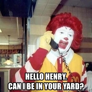 Ronald Mcdonald Call - hello henry.                                    can i be in your yard?