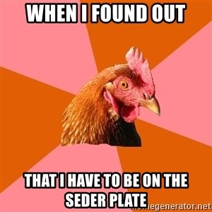 Anti Joke Chicken - when i found out that i have to be on the seder plate