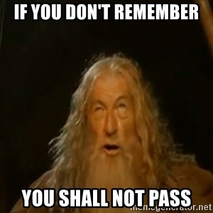 Gandalf You Shall Not Pass - If you don't remember you shall not pass