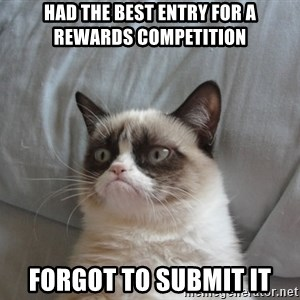 Grumpy cat good - had the best entry for a rewards competition forgot to submit it