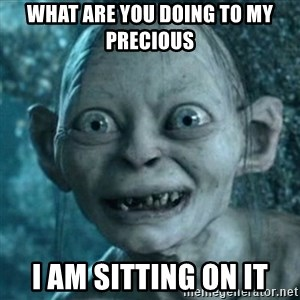 My Precious Gollum - what ARE YOU DOING TO MY PRECIOUS  I AM SITTING ON IT