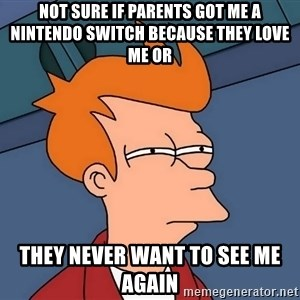 Futurama Fry - not sure if parents got me a nintendo switch because they love me or they never want to see me again