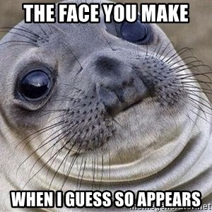 Awkward Moment Seal - The face you make When I guess so appears