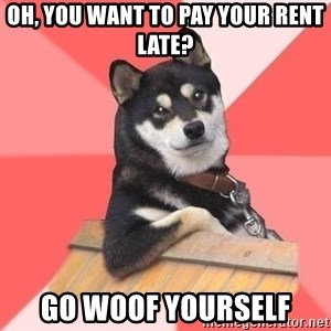 Cool Dog - Oh, you want to pay your rent late? Go WOOF yourself