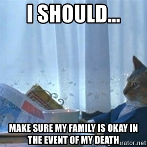 newspaper cat realization - I should... Make sure my family is okay in the event of my death