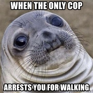 Awkward Seal - When the only cop  arrests you for walking