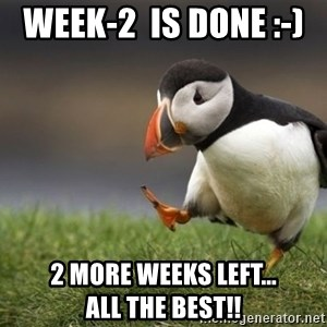 Unpopular Opinion Puffin - Week-2  is done :-)   2 more weeks left...            All the best!!
