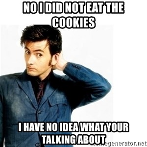 Doctor Who - No i did not eat the cookies I have no idea what your talking about