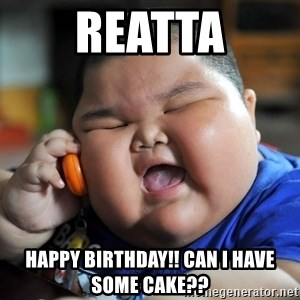 Fat Asian Kid - Reatta Happy birthday!! Can I have some cake??