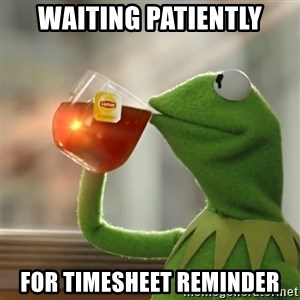 Kermit The Frog Drinking Tea - WAITING PATIENTLY FOR TIMESHEET REMINDER
