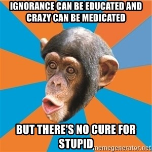 Stupid Monkey - ignorance can be educated and crazy can be medicated but there's no cure for stupid