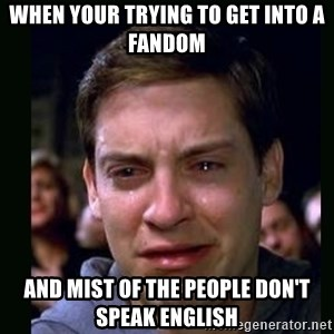 crying peter parker - When your trying to get into a fandom And mist of the people don't speak english