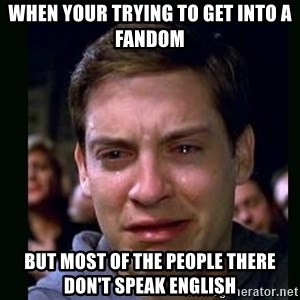crying peter parker - When your trying to get into a fandom But most of the people there don't speak english