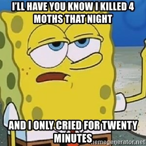 Only Cried for 20 minutes Spongebob - I'll have you know I killed 4 moths that night and I only cried for twenty minutes