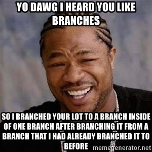 Yo Dawg - yo dawg i heard you like branches so i branched your lot to a branch inside of one branch after branching it from a branch that i had already branched it to before
