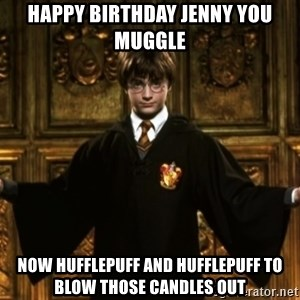 Harry Potter Come At Me Bro - HAPPY BIRTHDAY JENNY YOU MUGGLE NOW HUFFLEPUFF AND HUFFLEPUFF TO BLOW THOSE CANDLES OUT