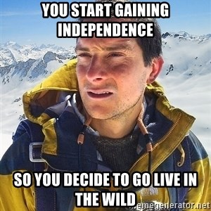 Bear Grylls Loneliness - You start gaining independence so you decide to go live in the wild
