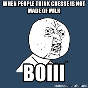 Y U No - WHen people think chesse is not made of milk Boiii