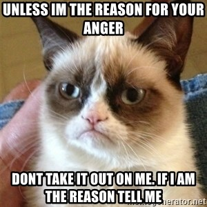 Grumpy Cat  - unless im the reason for your anger dont take it out on me. if i am the reason tell me