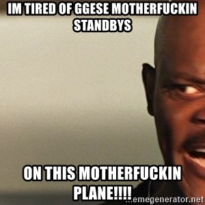 Snakes on a plane Samuel L Jackson - IM TIRED OF GGESE MOTHERFUCKIN STANDBYS ON THIS MOTHERFUCKIN PLANE!!!!