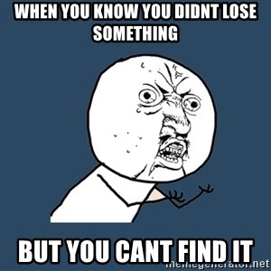 Y U No - when you know you didnt lose something but you cant find it