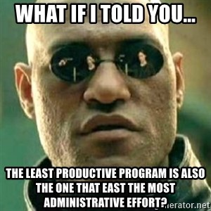 what if i told you matri - What if I told you... The least productive program is also the one that east the most administrative effort?